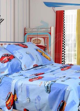 Детское полуторное постельное белье машинки