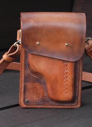 Кожаная мужская сумка через плечо, подарок для него