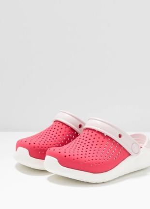 Крокс crocs kids' literide™ clog детские коралово-красные кроксы, оригинал