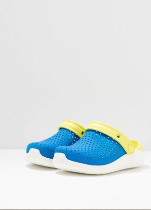 Крокс kids' crocs literide™ clog детские синие с салатовым кроксы lite ride