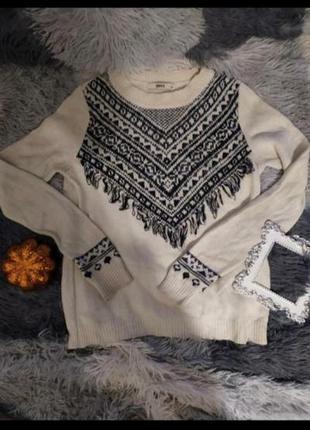 Светр свитер базовый этнический горы зима белый