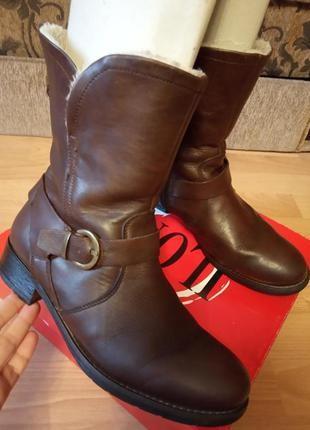 Германия! зимние, шикарные, кожаные ботинки, ботиночки, сапожки, полусапожки, мех.