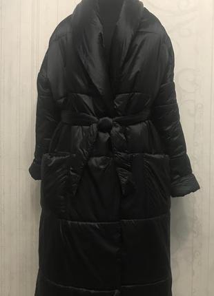 Дизайнерский пуховик халат, зимнее пальто