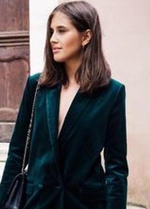 Акция)велюровый изумрудный бархатный укороченный пиджак асос