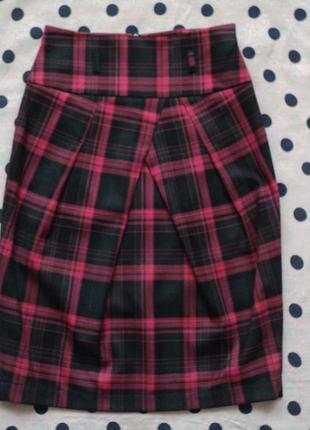 Юбка в клетку, офисная юбка с высокой талией, юбка-тюльпан для офиса, классическая