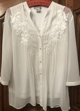 Белая,базовая блузка mona с вышивкой