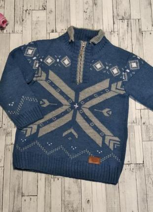 Теплый вязанный свитер likas под горло на мальчика