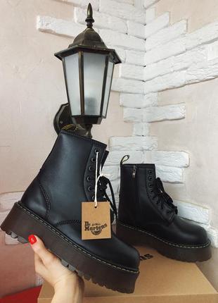 Dr. martens jadon black fur шикарные зимние женские ботинки с мехом чёрные кожа