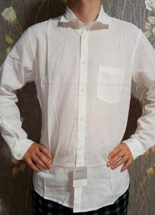 Рубашка белая лен 55% watsons германия размер l