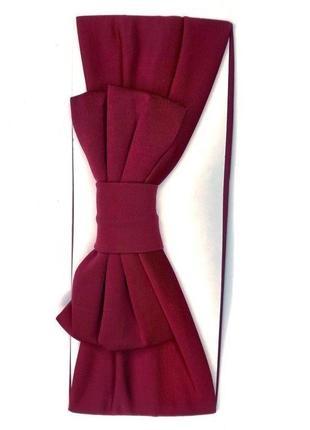Широкая комфортная вишнево-бордовая повязка чалма с бантиком