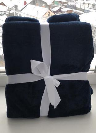 Флисовый плед 150 *200 см , глубокого синего цвета