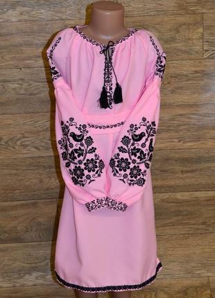 """Вишиванка вышиванка вишита сукня в стилі бохо """"птахи"""" для дівчинки 9-11 років"""