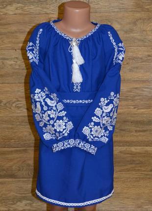 """Вишиванка вышиванка вишита сукня в стилі бохо """"птахи"""" для дівчинки 6-8 років"""