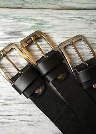 Мужской кожаный ремень черный  38 мм