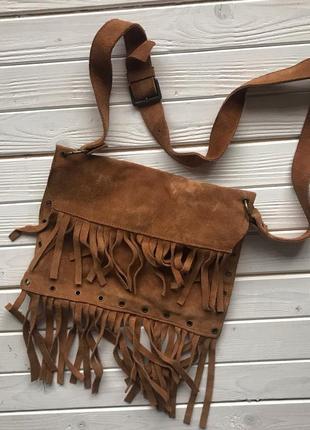 Замшевая натуральная сумка с бахромой