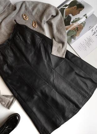 Кожаная юбка миди в стиле zara dutti