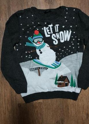 Новогодний рождественский свитер снеговик