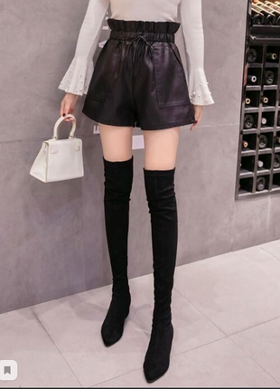 В наличии черные кожаные ,кожа pu , женские шорты с высокой талией