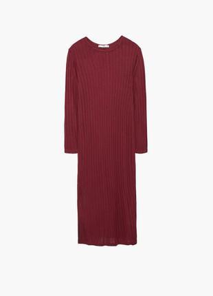 Бордовое платье в рубчик миди от mango