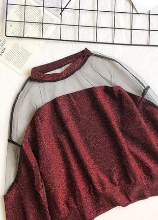 Красная кофточка с люрексом