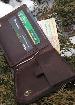 Шкіряний гаманець, шкіряний гаманець ручної роботи, натуральна шкіра, на кнопці