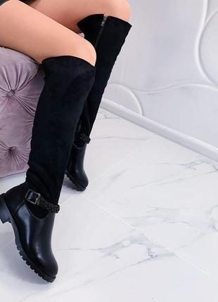 Зимние сапоги ботфорты на низком каблуке,зимние замшевые ботфорты на низком ходу
