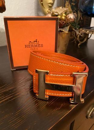 Стильный оранжевый кожаный ремень hermes 110см