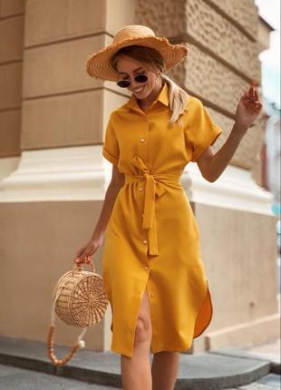 Абсолютно новое платье горчичного цвета. размер 42-44