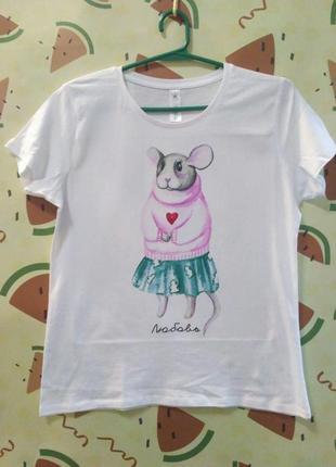 """Парные футболки push it с новогодним принтом """"мышки"""""""