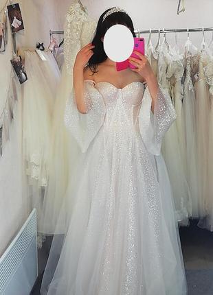 Новинка 2020 + фата  👰 шикарное свадебное корсет платье с рукавами для принцессы ❤️