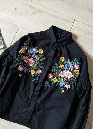 Красивая обьемная блуза блузка рубашка с вышивкой oversize xs s