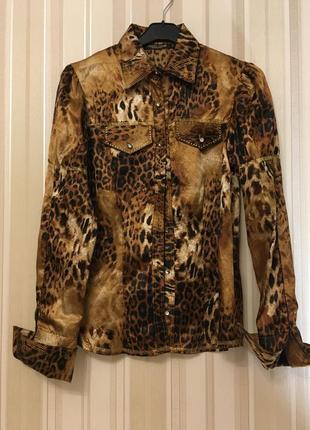 Roberto cavalli/ блузка /леопард/стразы/распродажа