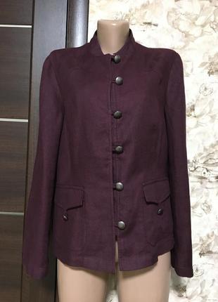 Роскошный льняной жакет,пиджак,марсала,100% лён!
