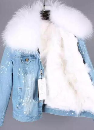 Куртка с мехом. джинсовка с натуральным мехом. зимняя куртка.