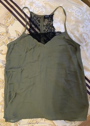 Кружевная блуза топ майка хаки m 36-38