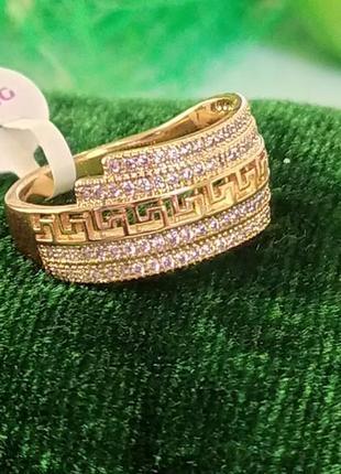 Позолоченное кольцо - клеопатра с 4 дорожками камней р.18, позолота, недорого + видеообзор