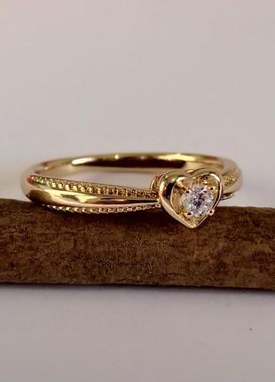 Позолоченное кольцо р.19 с камнем - сердце, позолота, недорого + видеообзор