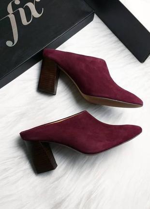 The fix оригинал замшевые бордовые туфли мюли