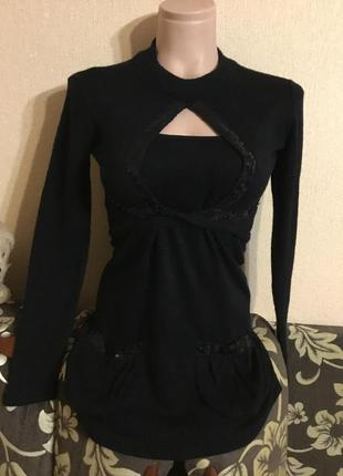 Фирменный чёрный комплект набор кофта болеро на завязках майка