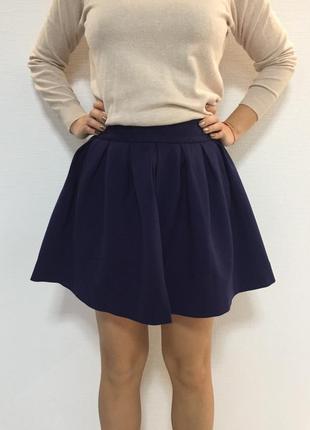 Короткая темно-синяя юбка (джерси) s-m