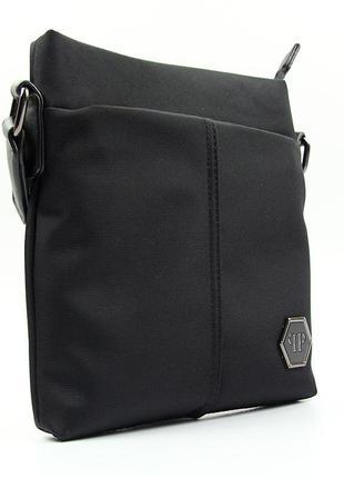 Черная мужская сумка через плечо текстильная на молнии