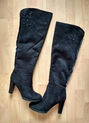 Замшевые ботфорты, зимние сапоги