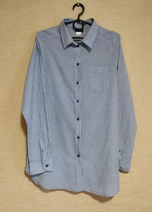 Классическая хлопковая блузка рубашка в полоску