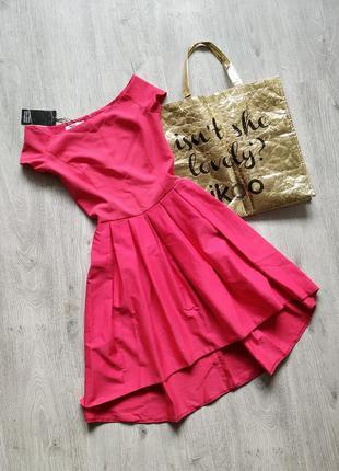 Нарядное платье с открытыми плечами / платье принцессы на выпускной / рожева сукня