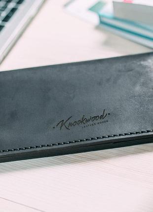 Кожаные мужской портмоне knockwood в черном цвете😍