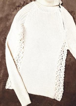 Guess jeans гольф водолазка  с ажурными кружевными вязаными вставками шерсть альпака