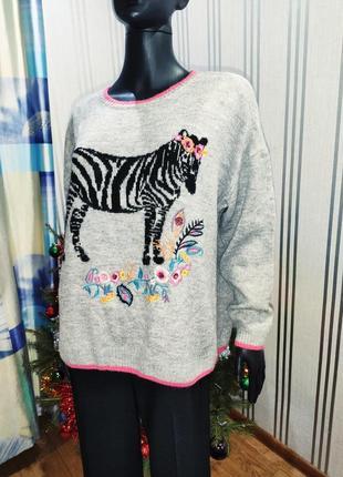 Милейшый тьоплый свитер с вышивкой и зеброй 💖
