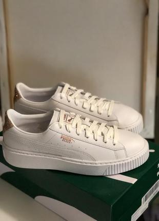 Белые кроссовки, кеды puma из натуральной кожи