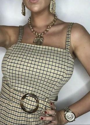 Горчичный сарафан платье в клетку с поясом