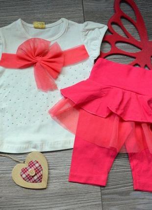 Летний костюм ( футболка и бриджи) для девочки 9-12-18 мес